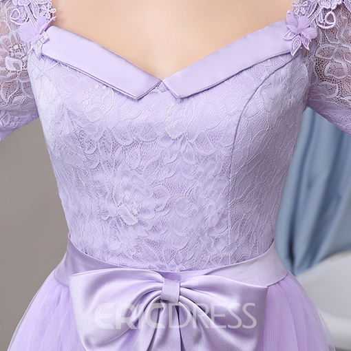 Ericdress Half-Sleeve Bowknot Knee-Length Homecoming Dress