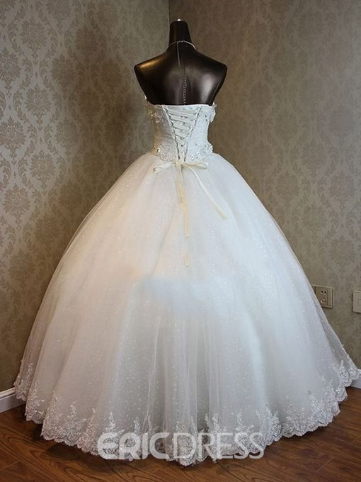 Ericdress Sweetheart Appliques Beaded Ball Gown Wedding Dress