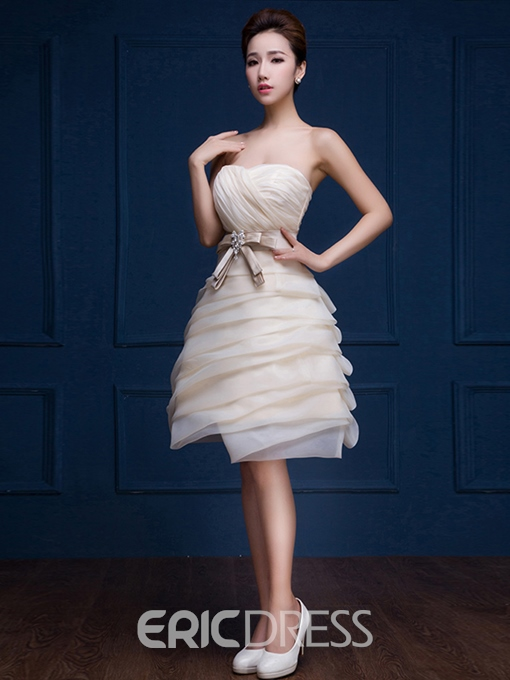 Ericdress Sweetheart A-Line Ruched Bow Mini Knee-Length Homecoming Dress