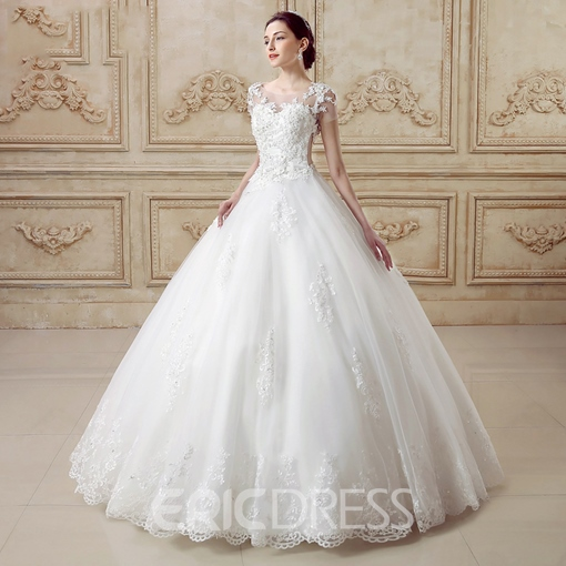 Ericdress Appliques Ball Gown Wedding Dress with Train
