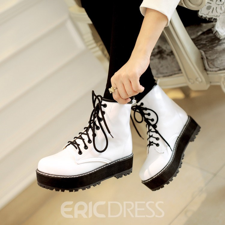 Ericdress British Lace-up Martin Ankle Boots
