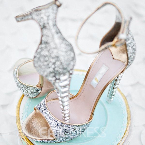 Ericdress Luxurious Rhinestone Ankle Strap Wedding Shoes.  . Silver.   c00dd7878ab7