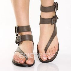 Ericdress Black Buckle Thong Flat Sandals