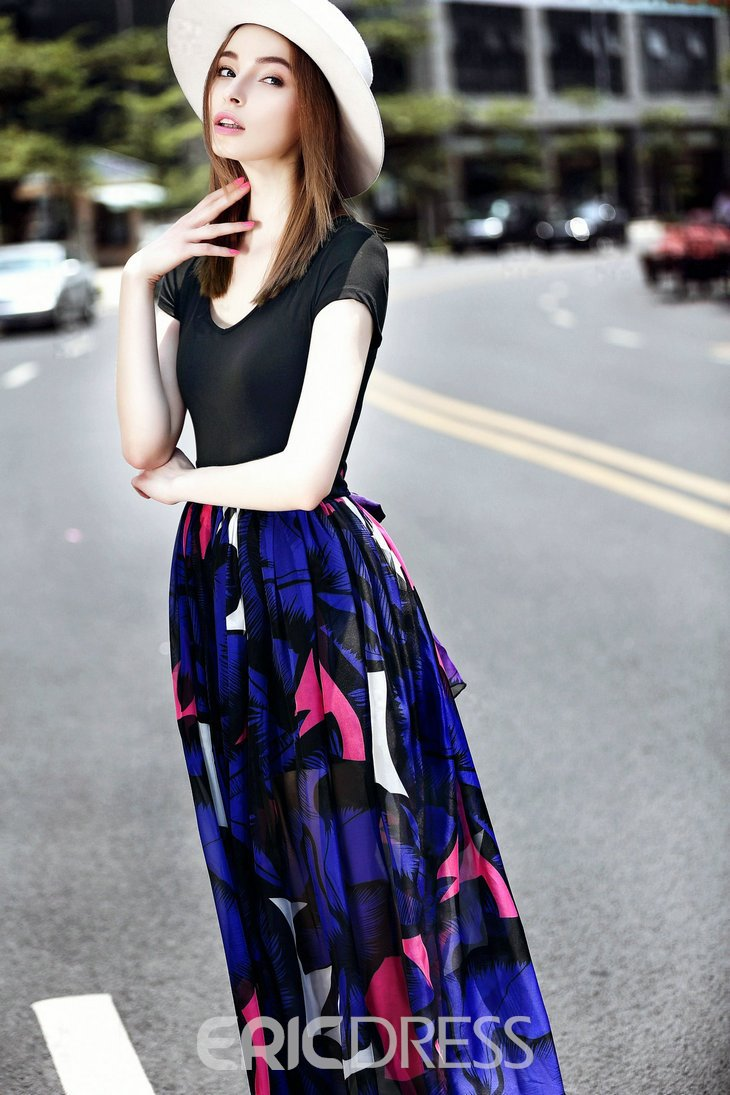 Ericdress Print Patchwork Short Sleeve Summer Maxi Dress