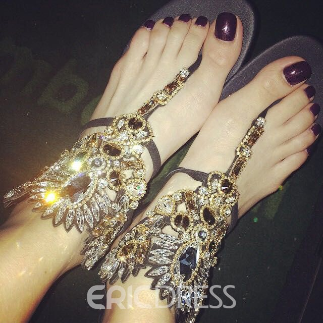Retro Black Rhinestone Decoration Flat Sandals