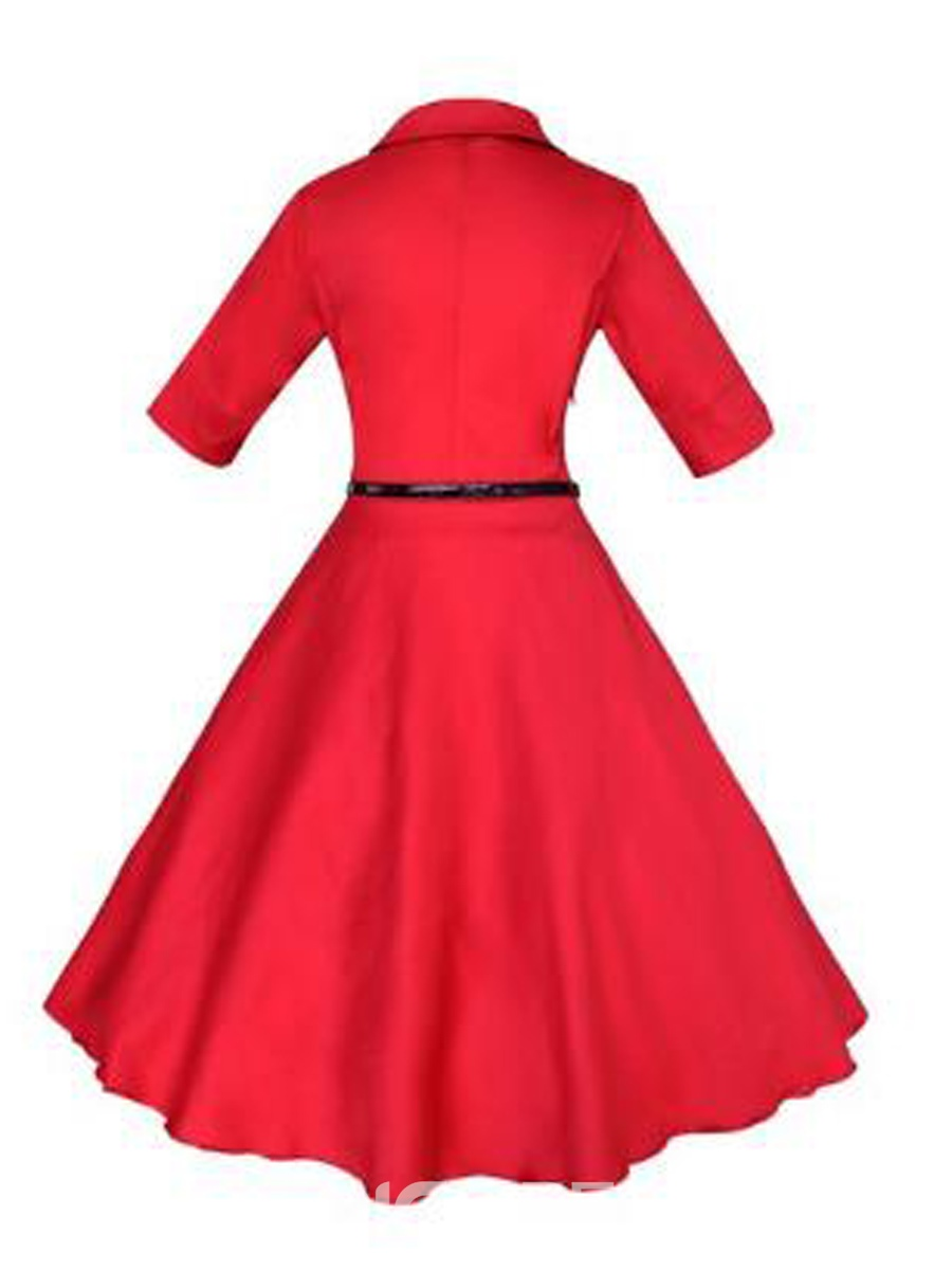 Ericdress Rockabilly Style Half Sleeves Plain A Line Dress