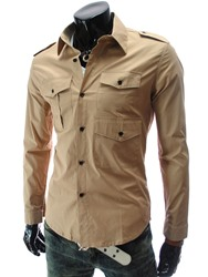Ericdress Plain Multi-Pocket Mens Casual Shirt