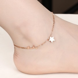Cute Rose Golden Star Decorated Anklet