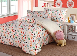 Vivilinen Lovely Colorful Animals Pattern Kids High Quality Cotton 4-Piece Duvet Cover Sets
