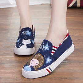 Ericdress Cute Cartoon Slip-on Canvas Flats