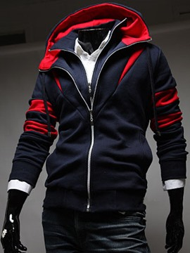 Ericdress Hooded Color Block Double-Layer Zipper Slim Men's Hoodie