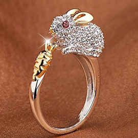 Ericdress High-End Rabbit Animal Diamante Women's Ring