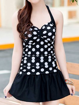 Ericdress White Polka Dots Halt Swimwear