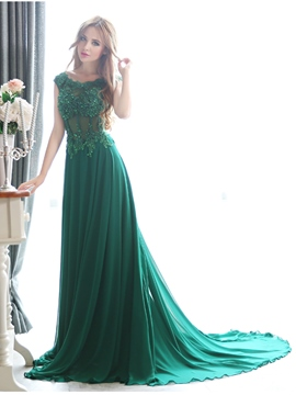 Ericdress A-Line Appliques Pearl Court Train Evening Dress