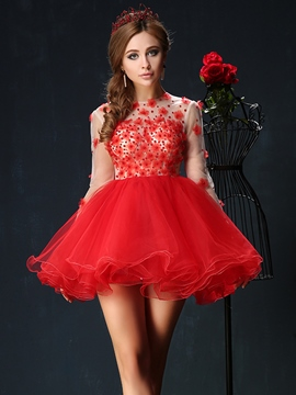 Ericdress Long Sleeve A-Line Jewel Neck Flowers Mini Homecoming Dress