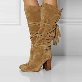 Ericdress Khaki Chunky Heel Knee High Boots