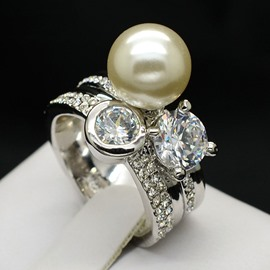 Ericdress Big Pearl Diamante Ring