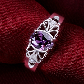 Delicate Amethyst Decorated Ring