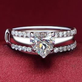 Shining SONA Diamond Decorated Silver Ring(Primary and Secondary Ring)