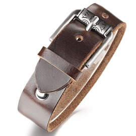 Buckle Decorated Men's Leather Bracelet