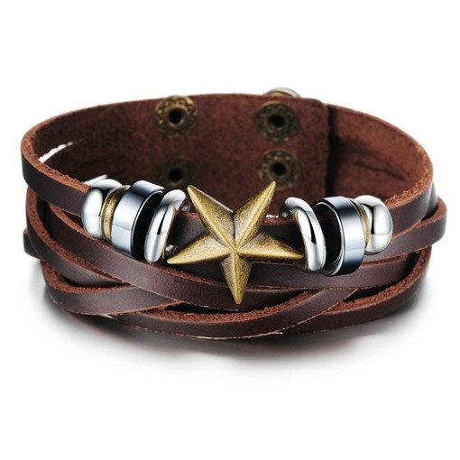 Five-pointed Star Decorated Men's Leather Bracelet