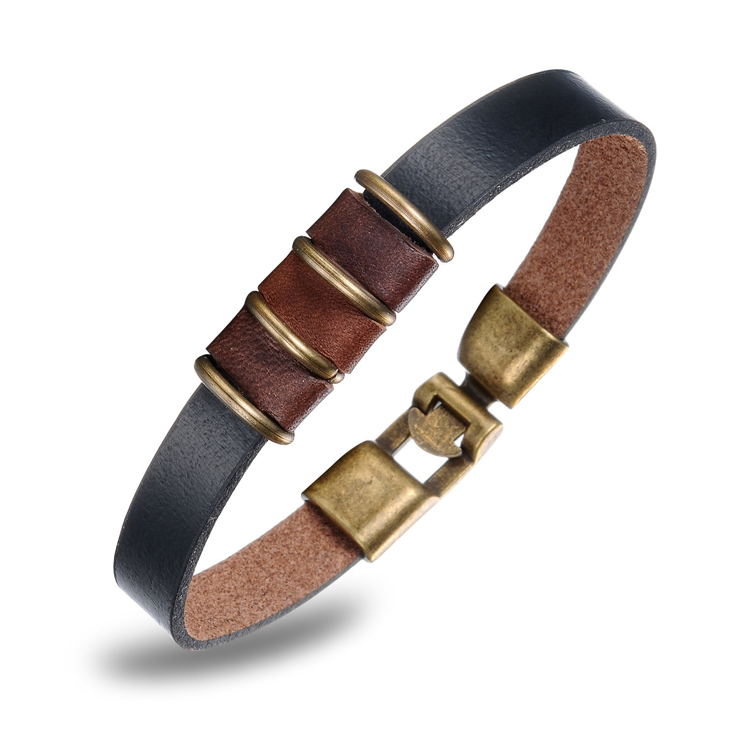 Metal Decorated Mens Leather Bracelet