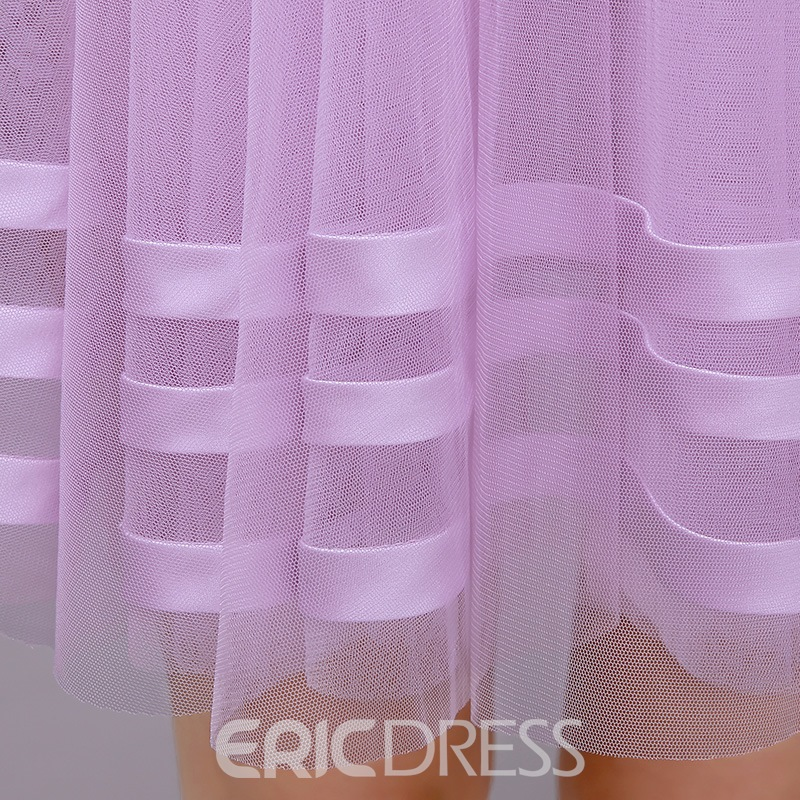 Ericdress A-Line Sheer Neck Ribbons Beading Homecoming Dress