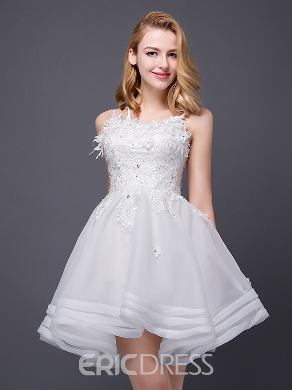 Ericdress Spaghetti Straps Appliques Beaded Short Homecoming Dress