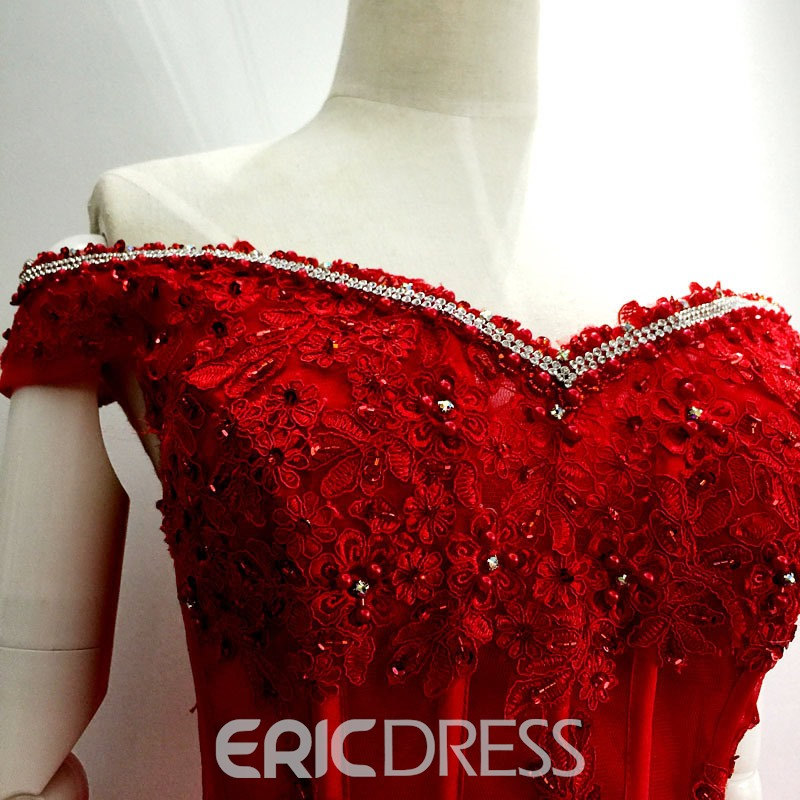 Ericdress Off-The-Shoulder Appliques Sequins Homecoming Dress