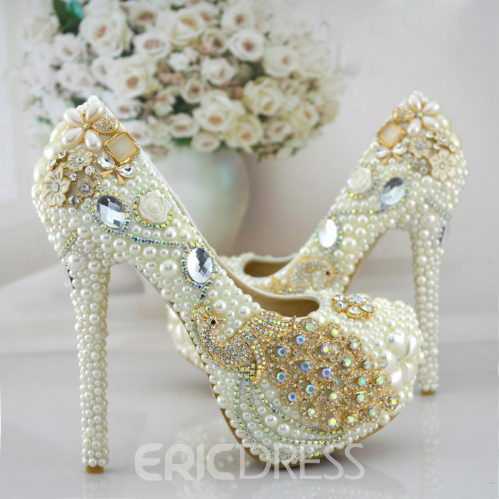 Ericdress Peacock Handmade Pearl Wedding Shoes