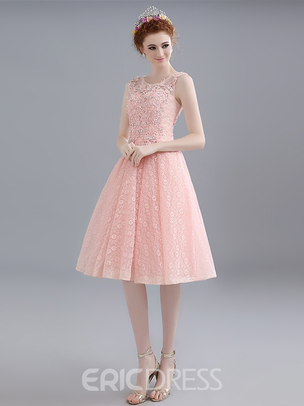 Ericdress A-Line Round Neck Lace Appliques Beadings Knee-Length Homecoming Dress