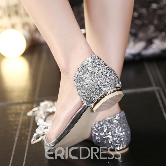 Ericdress Transparent Sequins Pointed-toe Flats
