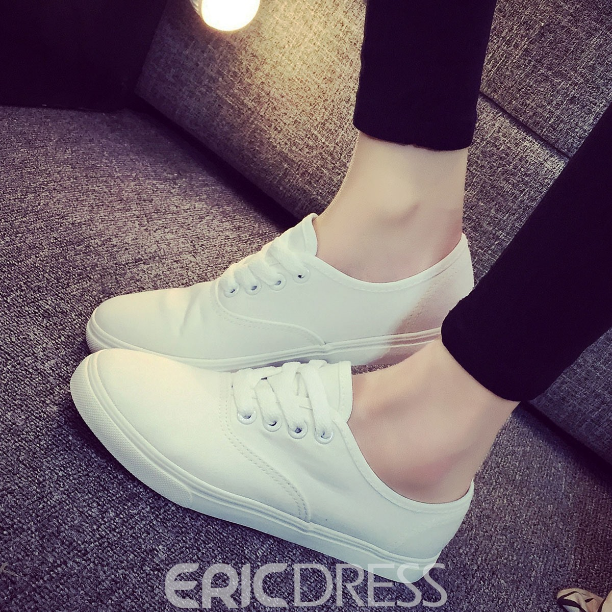 Ericdress Solid Color Lace-up Canvas Flats