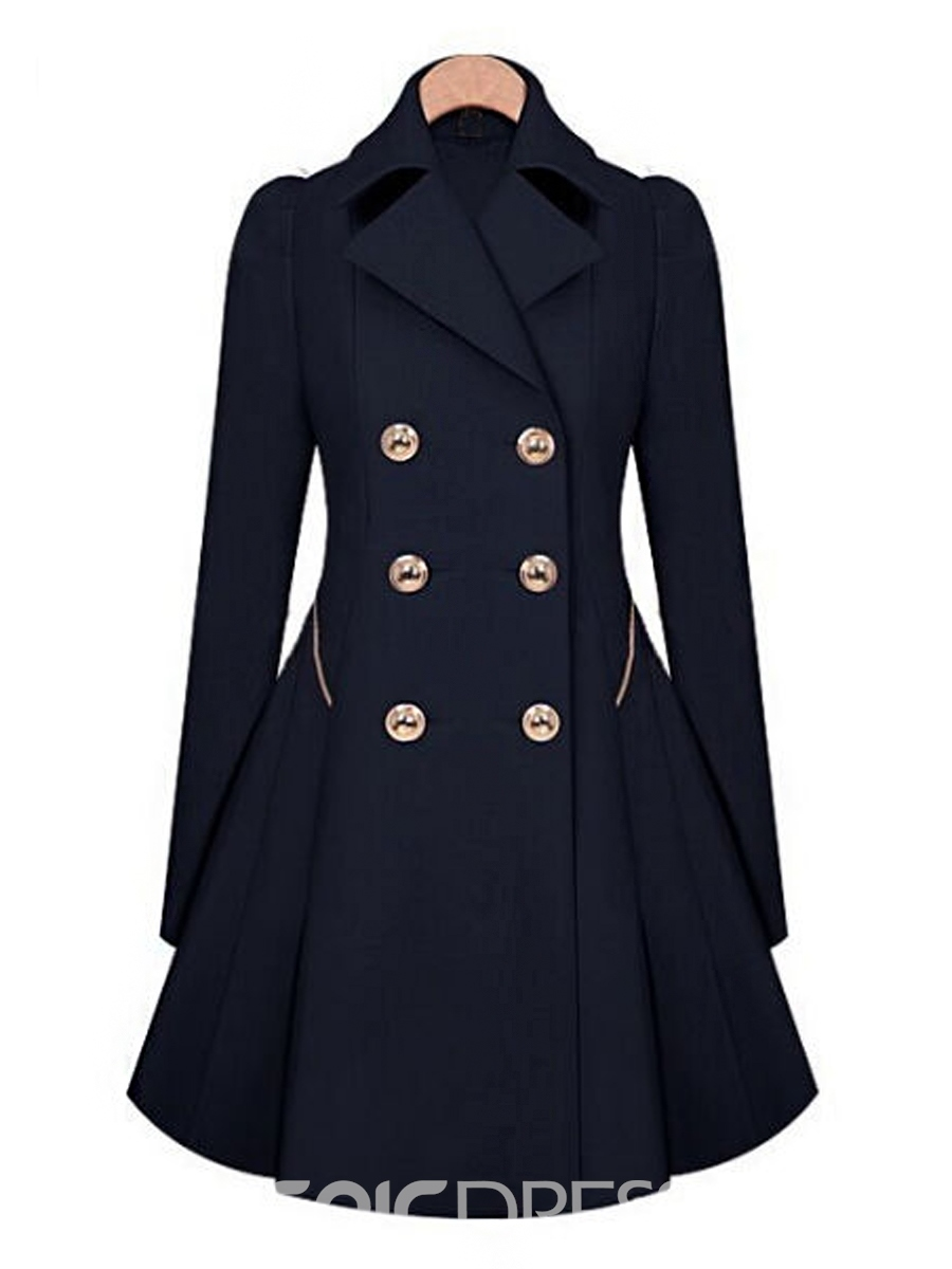 Ericdress Double-Breasted Wave Cut Coat