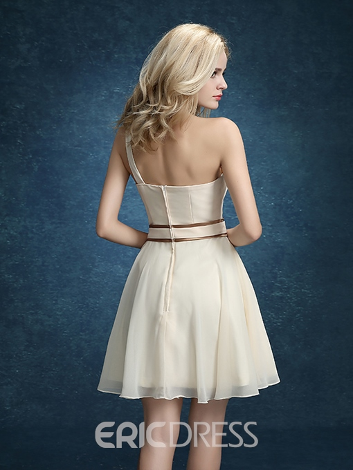 Ericdress One-Shoulder A-Line Flowers Short Homecoming Dress