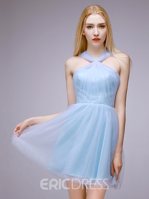 Ericdress Halter A-Line Ruched Mini Homecoming Dress