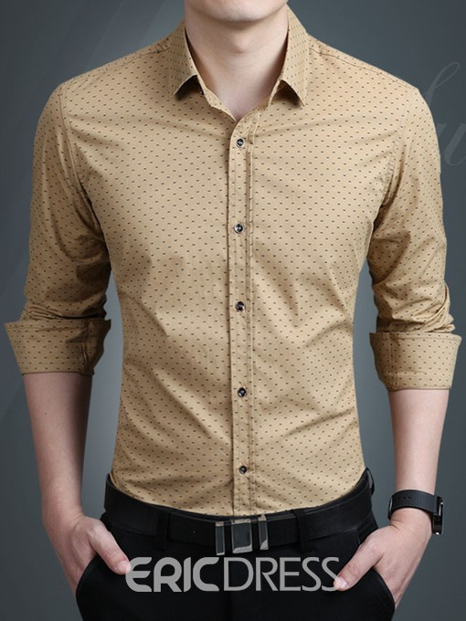 Ericdress Plus Size Printed Anti Wrinkle Thin Slim Men Shirt
