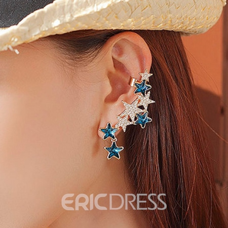 Individual Pentagram Shaped Rhinestone Decorated Ear Cuff