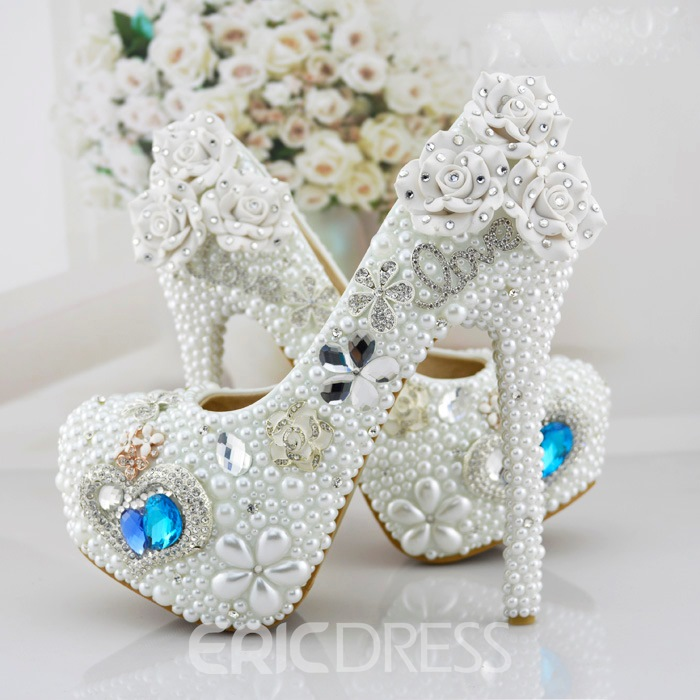 Ericdress White Pearl&crystal Wedding Shoes