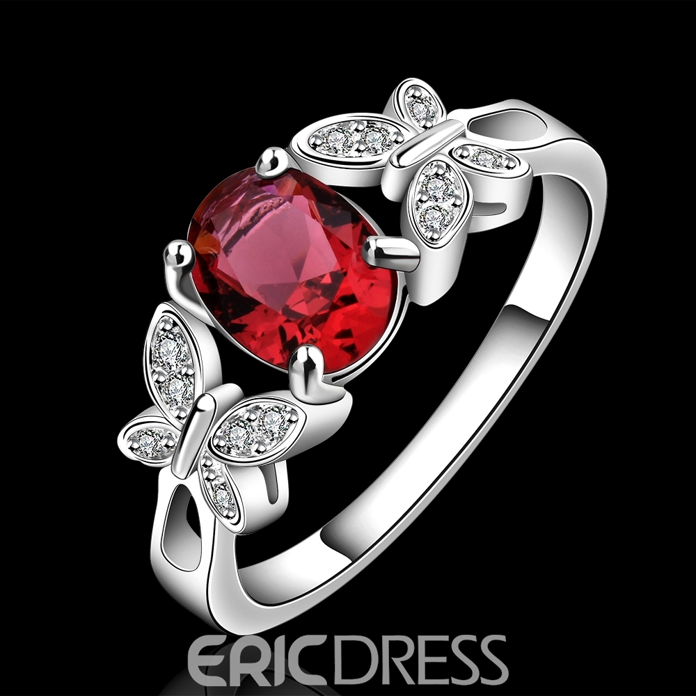Hot Ruby Match Lively Butterflies Vogue Ring