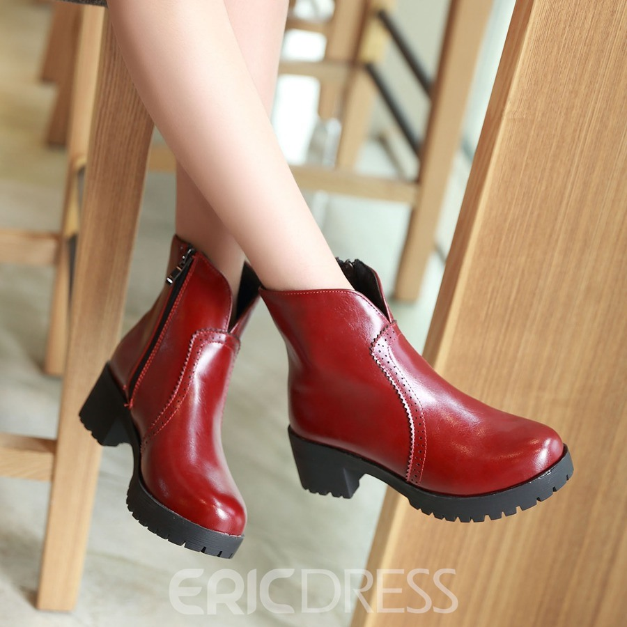 Ericdress Zipper Square Heel Ankle Boots