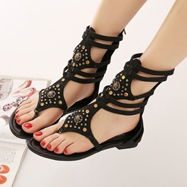 Ericdress Roman Rivets Decoration Thong Flat Sandals