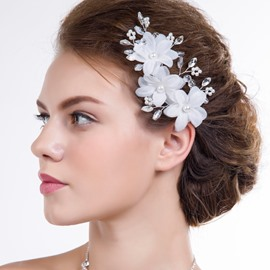 Ericdress Beautiful Pearls Handmade Hair Flower