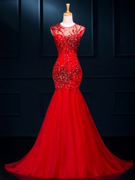 Ericdress Cap Sleeve Mermaid Red Prom Dress