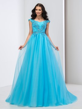Ericdress A-Line Cap Sleeve Appliques Floor-Length Prom Dress