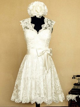 Ericdress V Neck A Line Lace Knee Length Wedding Dress