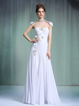 Ericdress Sweetheart Appliques Floor-Length White Evening Dress