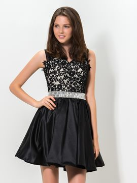 Ericdress V-Neck Appliques Beaded Short Homecoming Dress