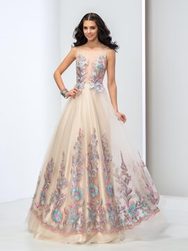 Ericdress Sheer Neck Appliques Sequins Long Prom Dress