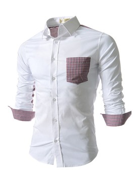 Ericdress Pocket Patched Casual Men's Shirt